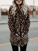 Fashion Leopard Print Faux Fur Coat - DadHats2ow6ix