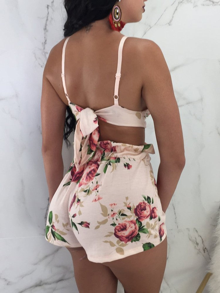 Floral Tied Back Top and Shorts Set - DadHats2ow6ix