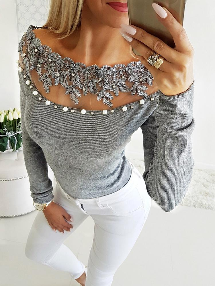 Off Shoulder Lace Bead Embellished Blouse - DadHats2ow6ix
