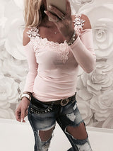 Lace Applique Long Sleeve Slim Fit Casual Blouse - DadHats2ow6ix