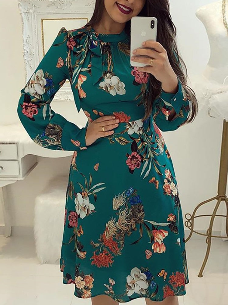 Floral Print Tie Neck Long Sleeve Casual Dress - DadHats2ow6ix