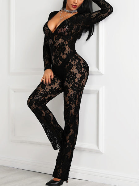 Floral Lace Sheer Deep V-Neck Jumpsuits - DadHats2ow6ix