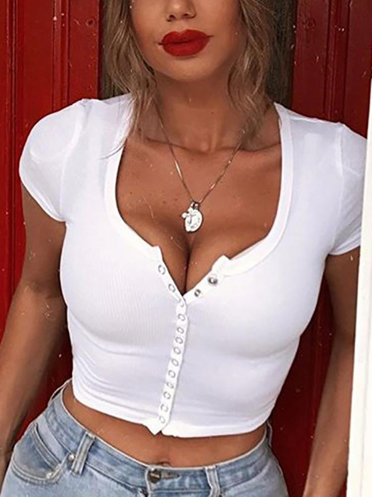 Single-breasted Cropped Casual White Top - DadHats2ow6ix