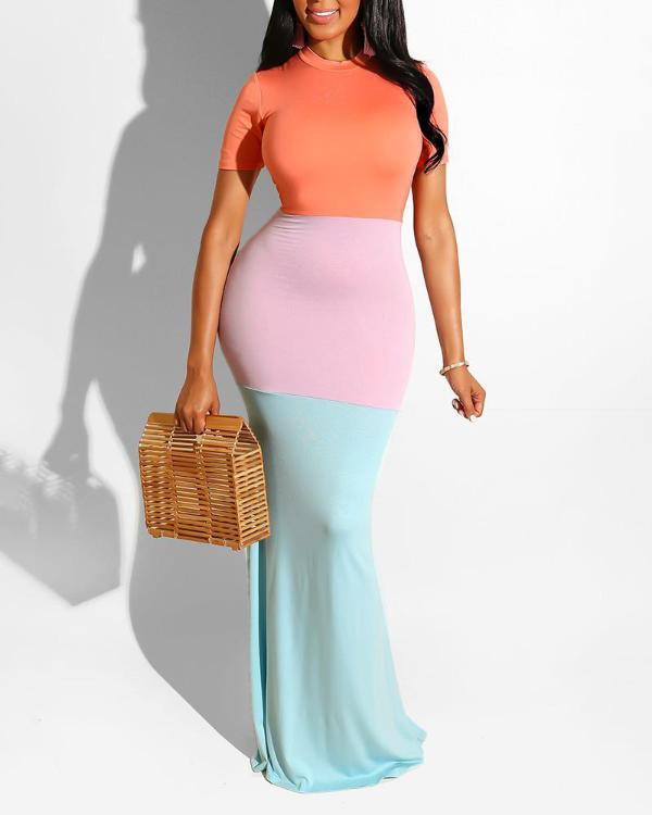 Color Blocking Short Sleeve Maxi Dress - DadHats2ow6ix