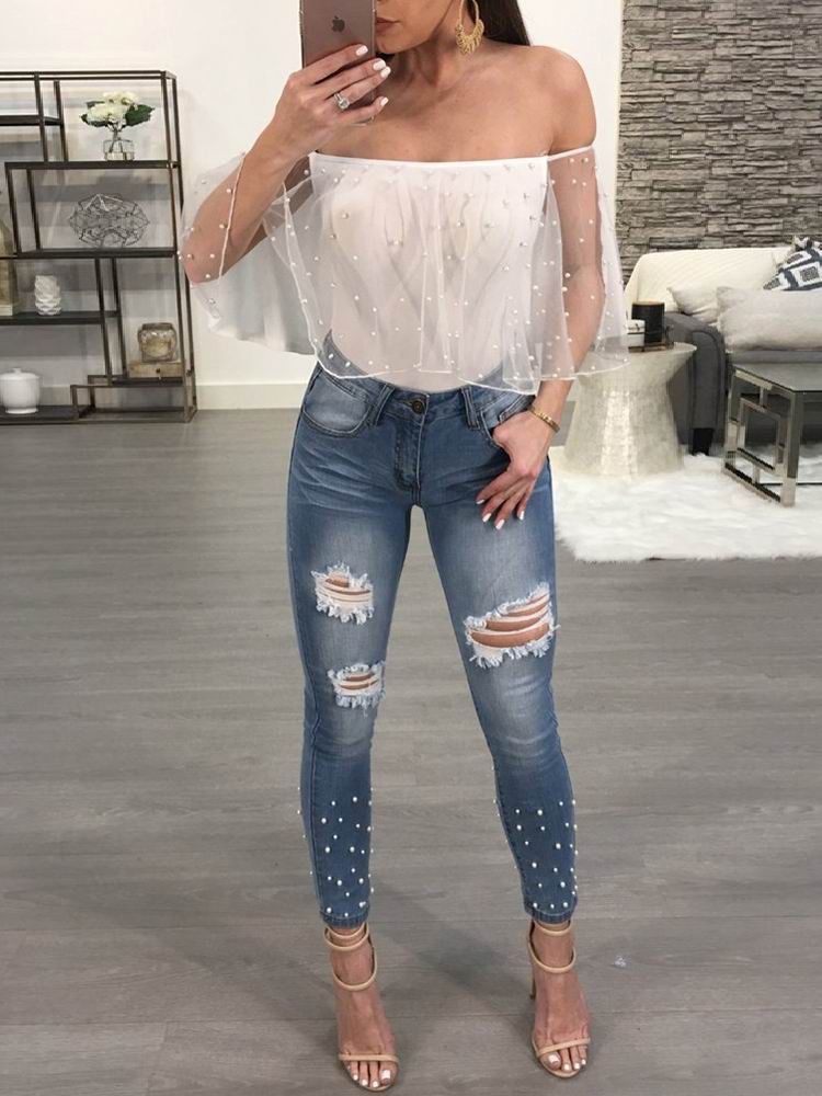 Shiny Embellished Ripped Skinny Pencil Jeans - DadHats2ow6ix