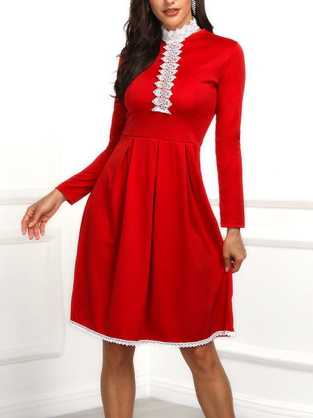 Lace Trim Binding Tunic Pleated Dress - DadHats2ow6ix