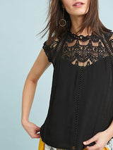 Crochet Lace Trim Splicing Casual Blouse - DadHats2ow6ix