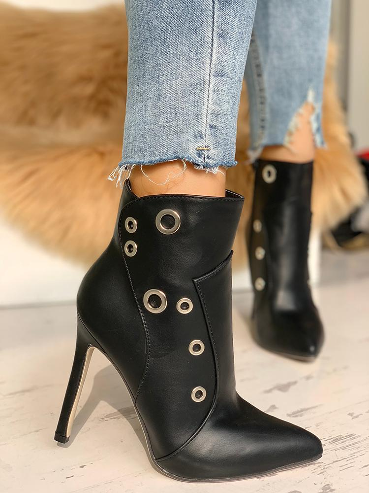 Metallic Ring Point Toe Thin Heeled Boots - DadHats2ow6ix