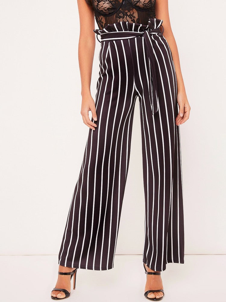 Frills Striped Belted High Waist Wide Leg Pants - DadHats2ow6ix