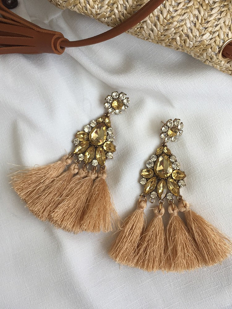 Boho Retro Brown Long Tassel Drop Earring - DadHats2ow6ix