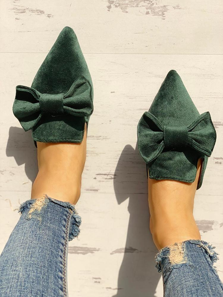 Suede Bowknot Pointed Toe Flat Shoes - DadHats2ow6ix
