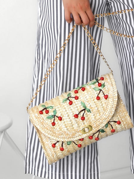 Cherry Pattern Straw Shoulder Bag - DadHats2ow6ix