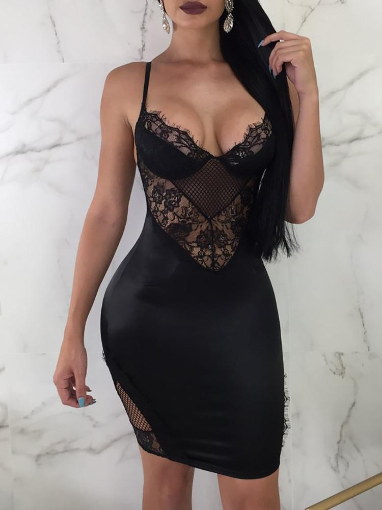 Eyelash Lace Splicing Backless Slip Bodycon Dress - DadHats2ow6ix