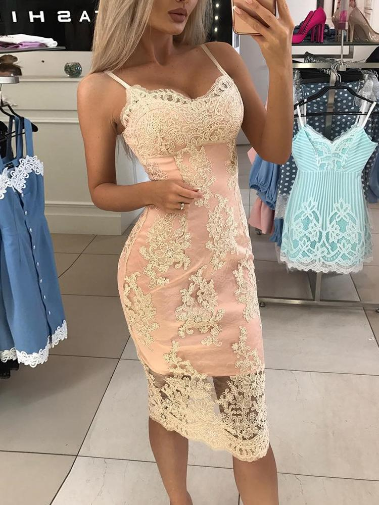 Spaghetti Strap Crochet Lace Overlay Bodycon Dress - DadHats2ow6ix
