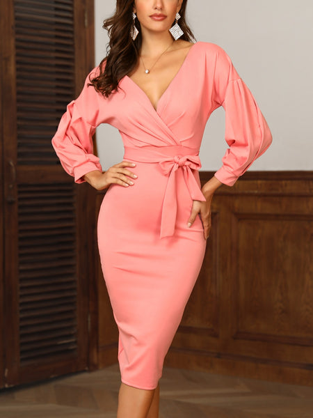 Lantern Sleeve Belted Off Shoulder Dress - DadHats2ow6ix