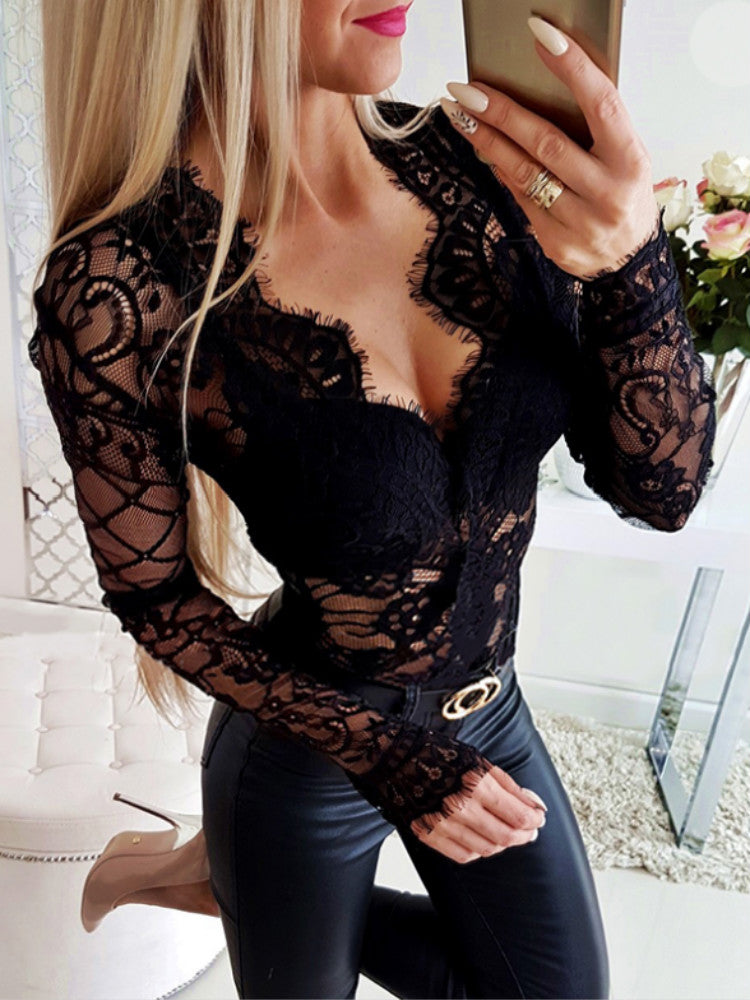Sheer Eyelash Lace Long Sleeve Bodysuit - DadHats2ow6ix
