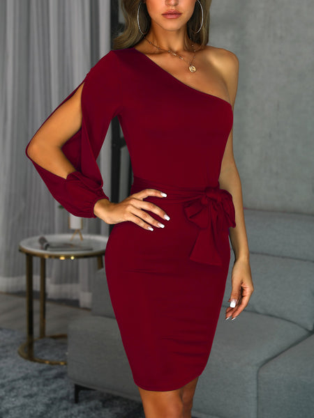 One Shoulder Slit Sleeve Bodycon Dress - DadHats2ow6ix