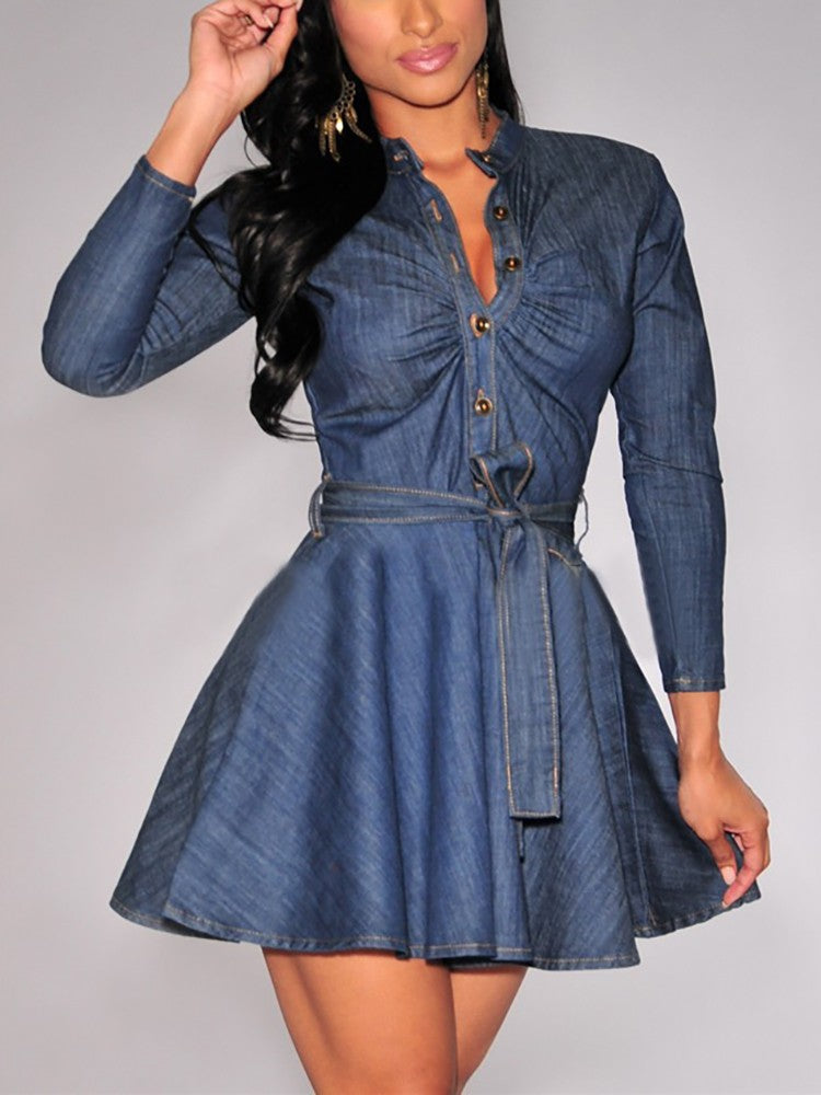 Denim Pleated Button Design Belted Casual Dress - DadHats2ow6ix