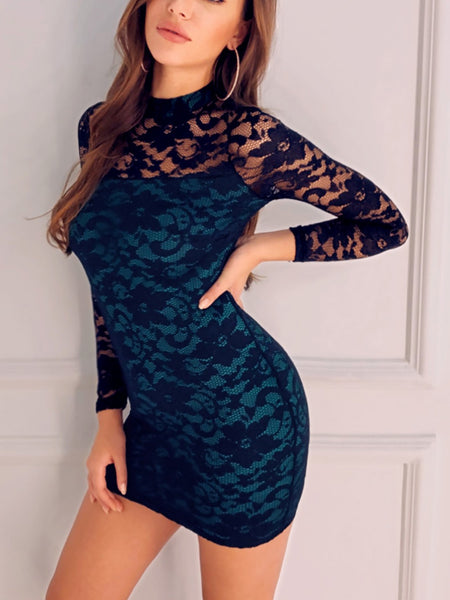 Sheer Lace Overlay Bodycon Dress - DadHats2ow6ix