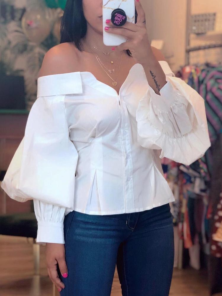 Lantern Sleeve Off Shoulder Blouse - DadHats2ow6ix