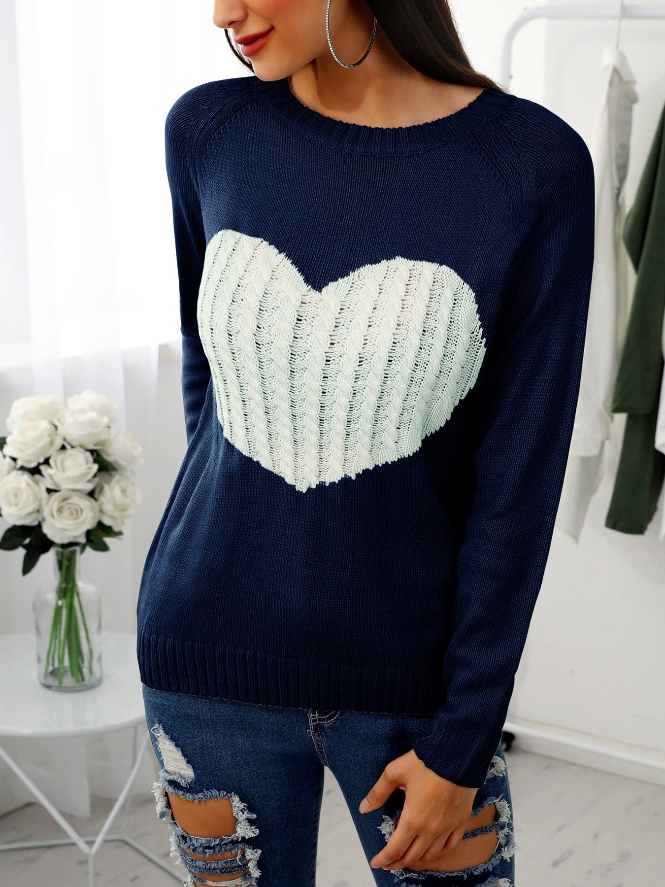 Heart Pattern Long Sleeve Casual Sweater - DadHats2ow6ix