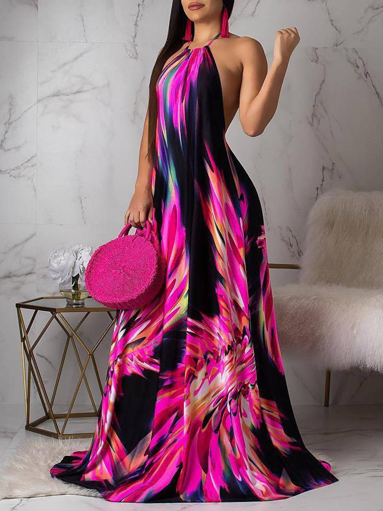 Halter Colorful Print Open Back Maxi Dress - DadHats2ow6ix