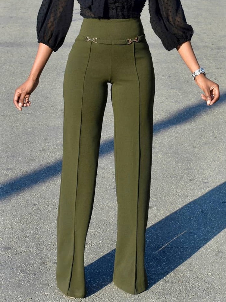 Solid Buckle High Waist Wide Leg Pants - DadHats2ow6ix