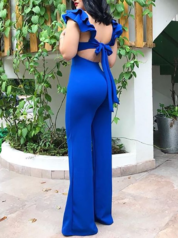 Layered Flutter Sleeve Knot Backless Jumpsuit - DadHats2ow6ix