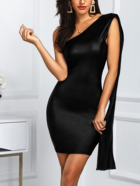 One Shoulder Cape Design Bodycon Dress - DadHats2ow6ix