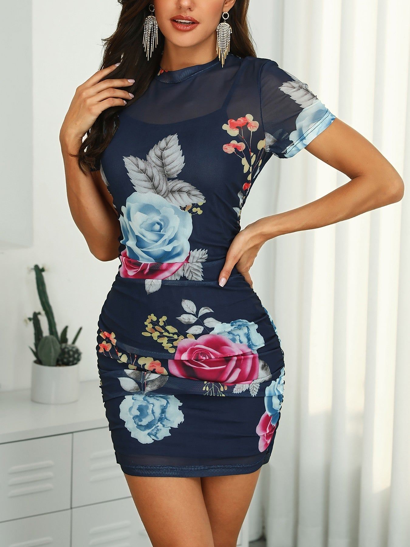 Floral Print Bodycon Dress With Lining - DadHats2ow6ix