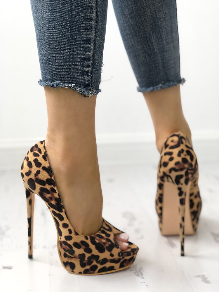 Leopard Print Peep-toe Thin High-heeled Pumps - DadHats2ow6ix