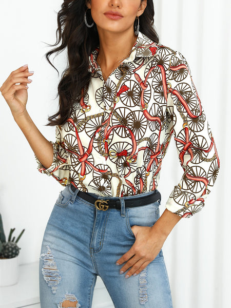 Mixed Print Long Sleeve Blouse - DadHats2ow6ix