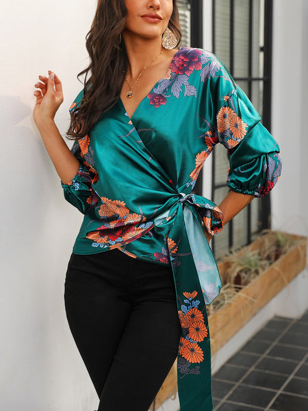 Floral Print Knot Waist Wrapped Blouse - DadHats2ow6ix
