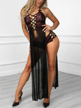 Alluring Lace Up Mesh Slit Dress Lingerie Sets - DadHats2ow6ix