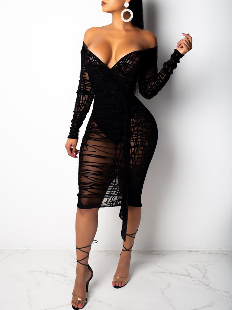 Slit Back Sheer Mesh Wrap Dress - DadHats2ow6ix