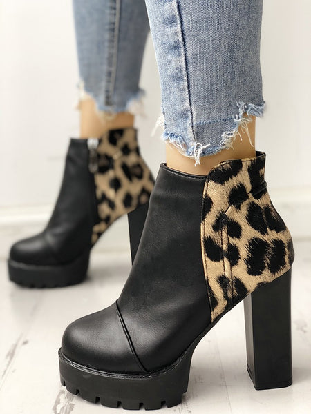 Leopard Insert Platform Chunky Heeled Ankle Boots - DadHats2ow6ix