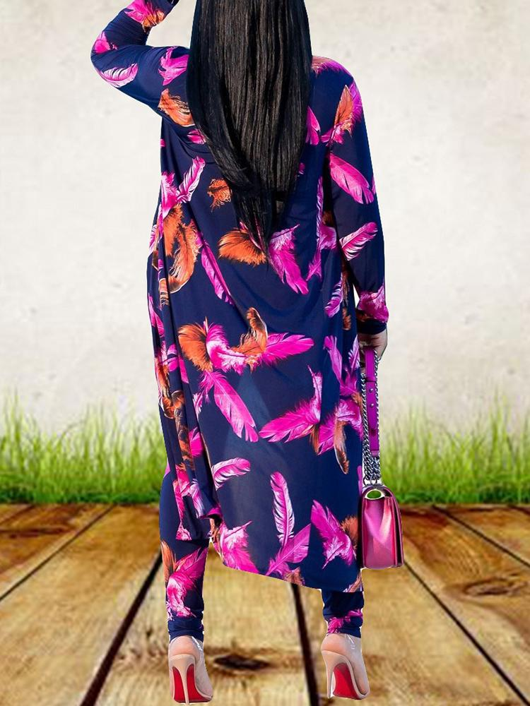 Feather Print Long Sleeve Coat With Pants - DadHats2ow6ix