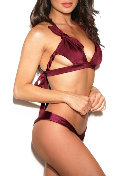 Braided Knot Ruched Cut Out Bikini - DadHats2ow6ix