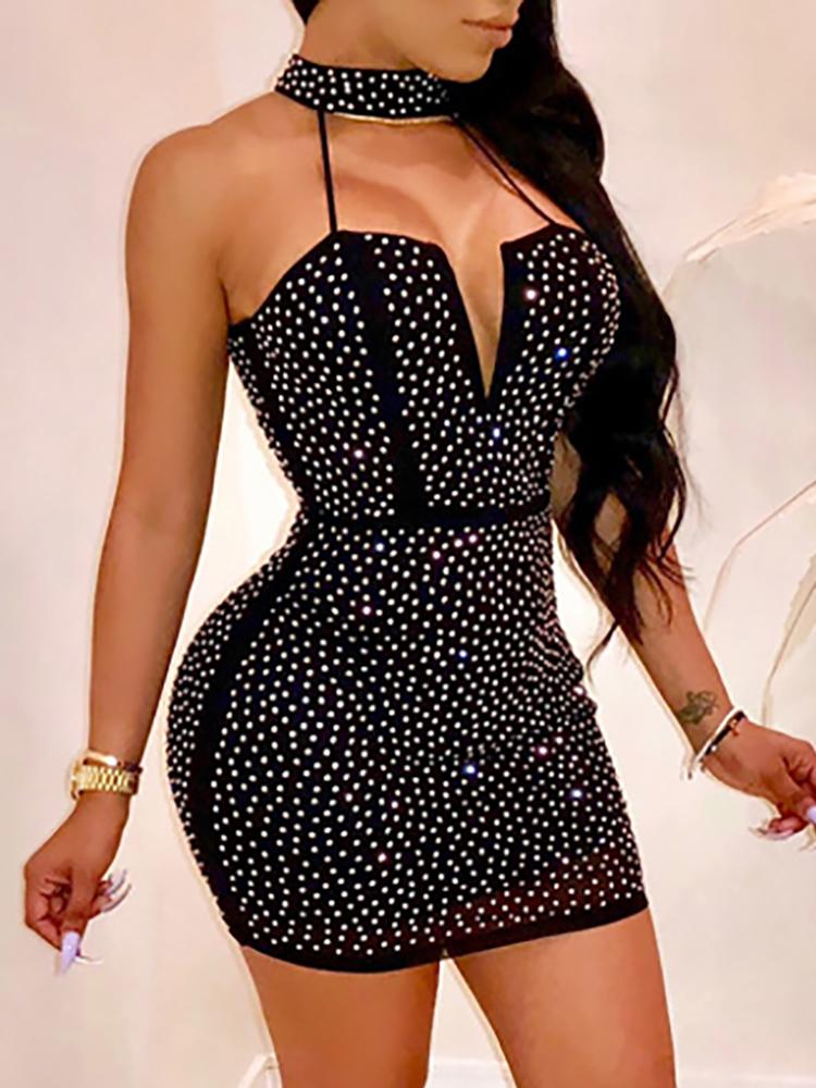 Hot Stamping Halter Bodycon Party Dress - DadHats2ow6ix