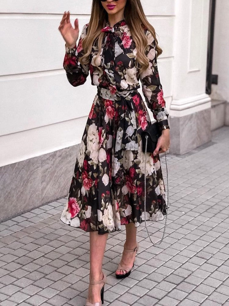 Floral Print Tie Neck Belted Chiffon Dress - DadHats2ow6ix
