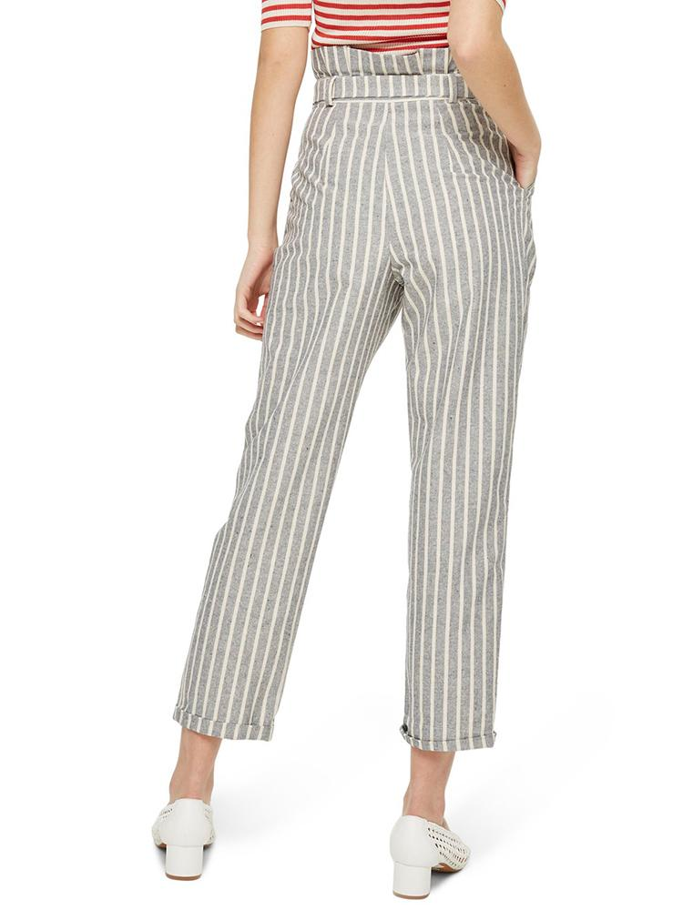 Striped Belted High Waist Roll Up Hem Pants - DadHats2ow6ix
