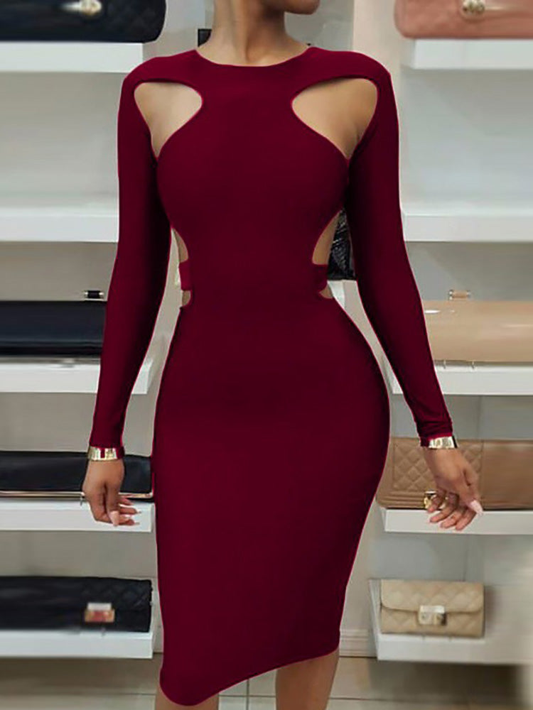 Long Sleeve Cut Out Slinky Dress - DadHats2ow6ix