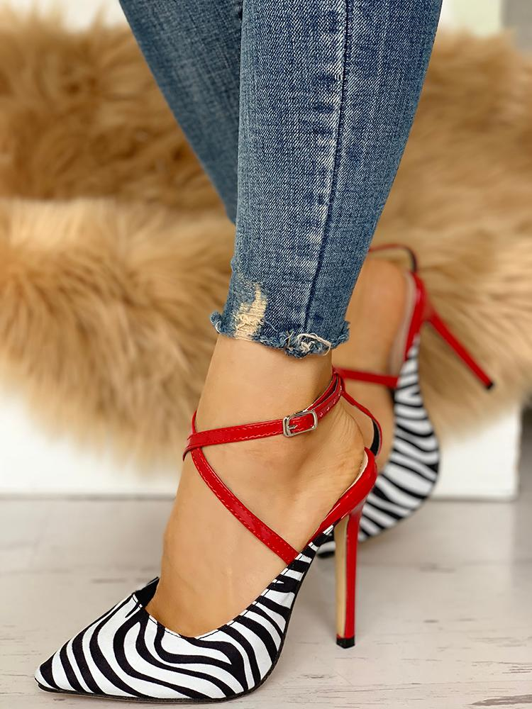 Pointed Toe Zebra Crisscross Thin Heels - DadHats2ow6ix