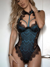 Alluring Lace Mesh Padded Lingerie Bodysuit - DadHats2ow6ix