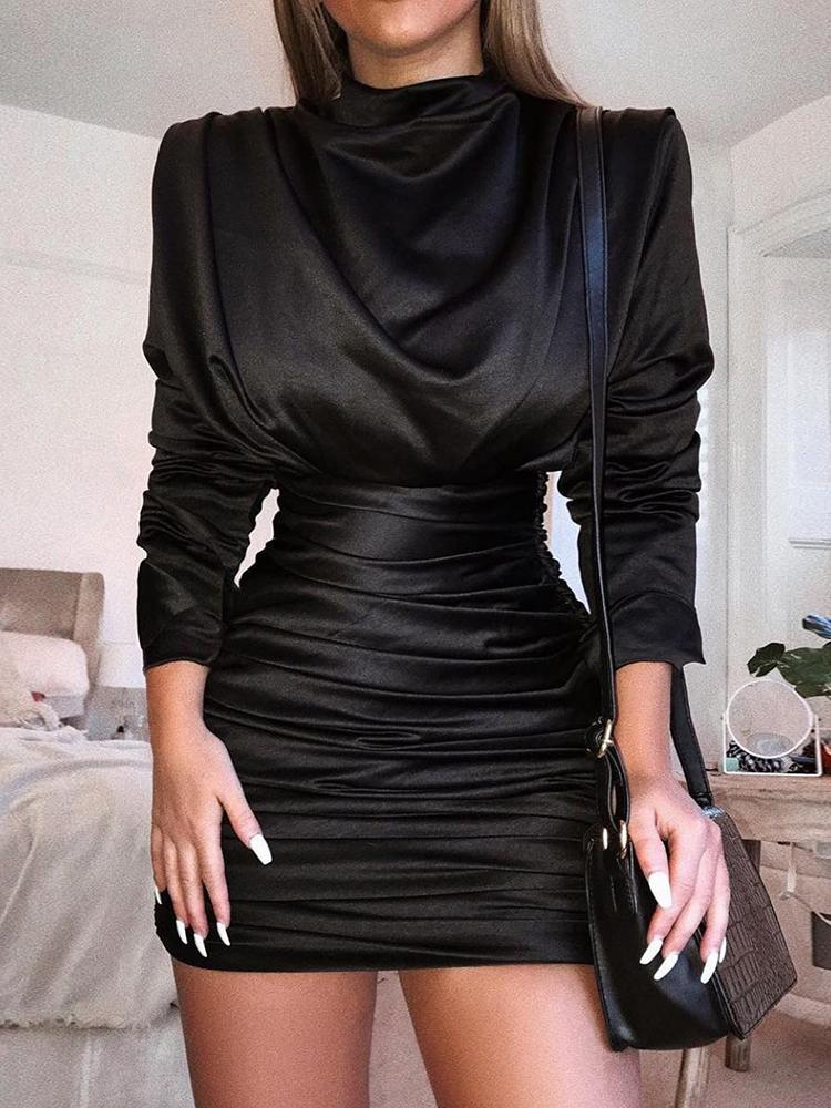 Long Sleeve Slit Back Ruched Party Dress - DadHats2ow6ix