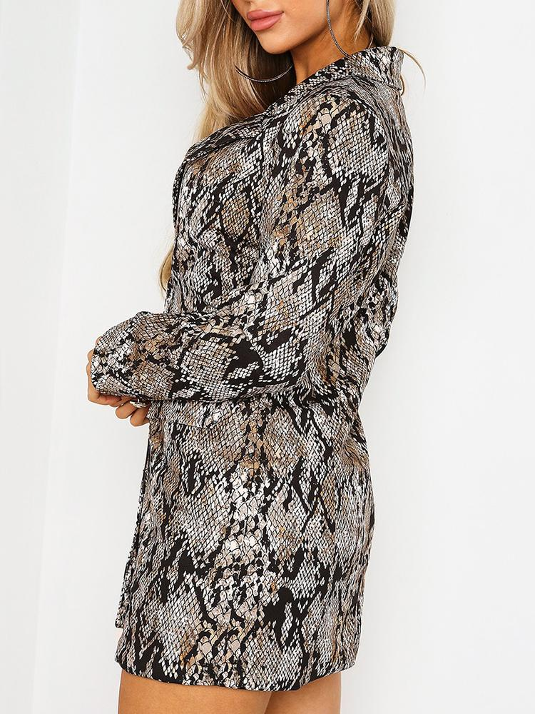 Snakeskin Print Double Breasted Blazer Dress - DadHats2ow6ix