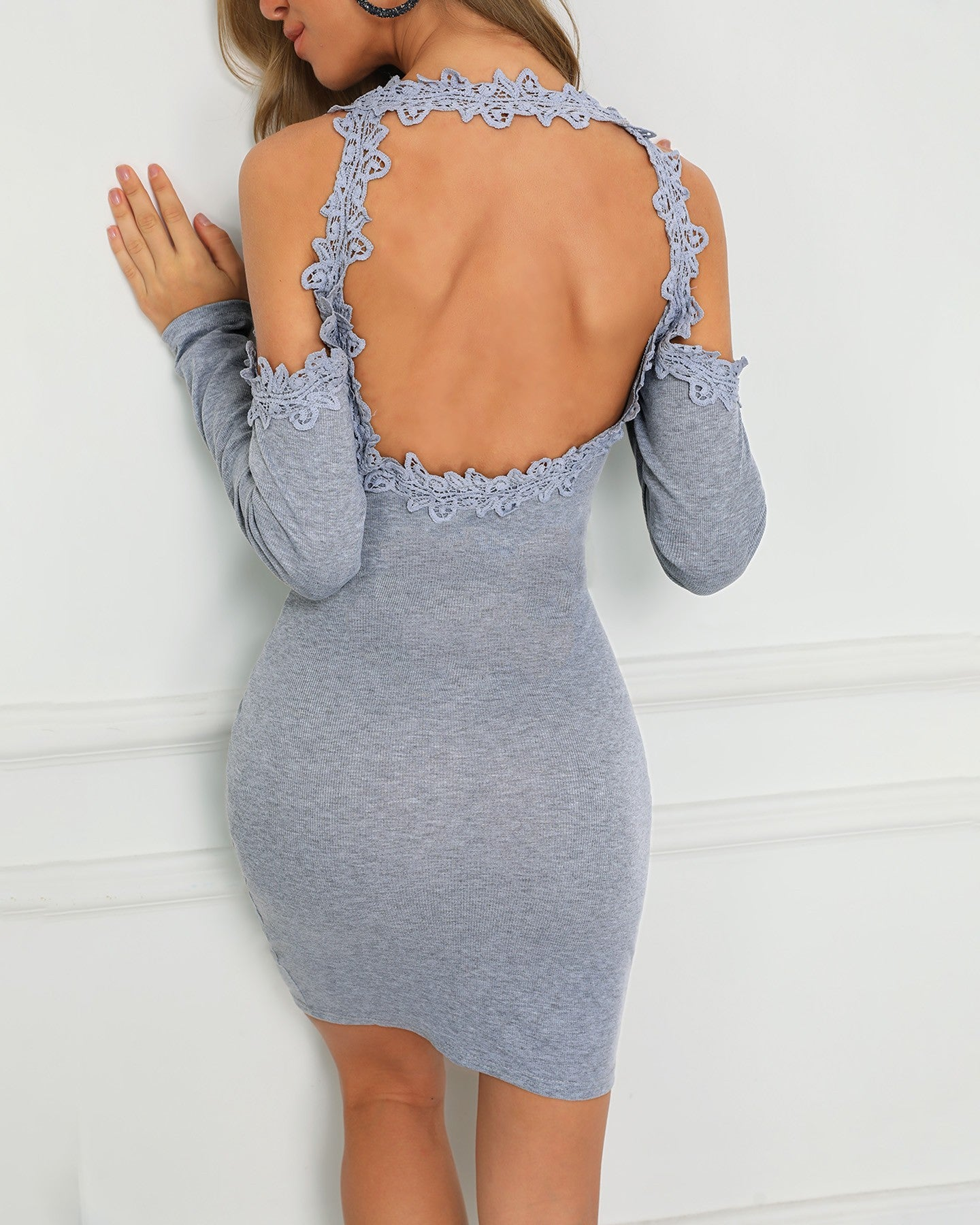 Guipure Lace Cold Shoulder Bodycon Dress - DadHats2ow6ix