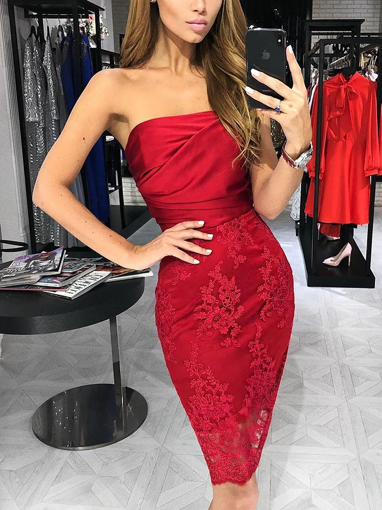 Embroidery Splicing Strapless Ruched Bodycon Dress - DadHats2ow6ix