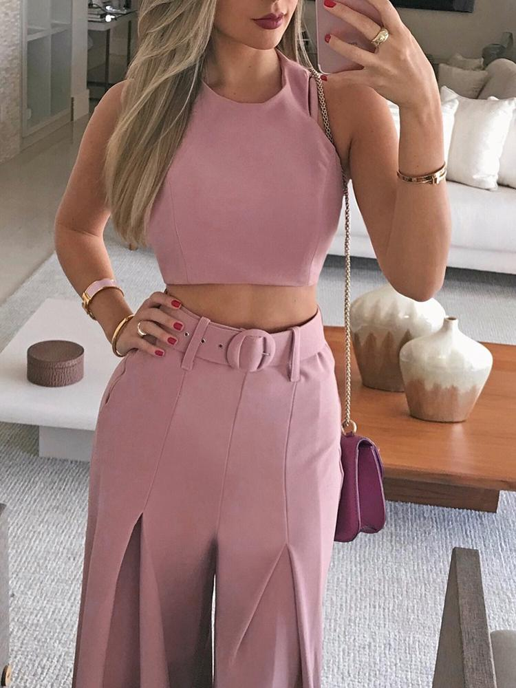 Solid Crop Top & Self-belt Wide Leg Pant Sets - DadHats2ow6ix