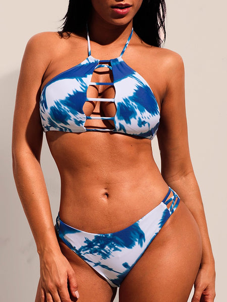 Tie Dye Print Ladder Cut Out Bikini Sets - DadHats2ow6ix